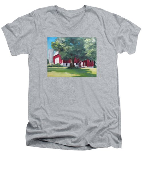 Men's V-Neck T-Shirt featuring the painting Rich's Barn by Carol Hart