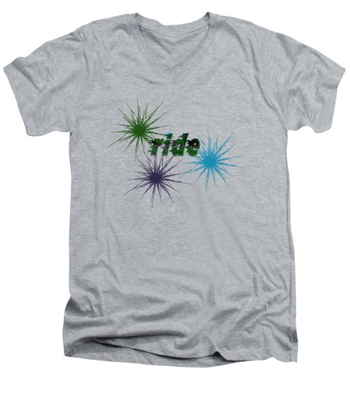 Ride Text And Art Men's V-Neck T-Shirt