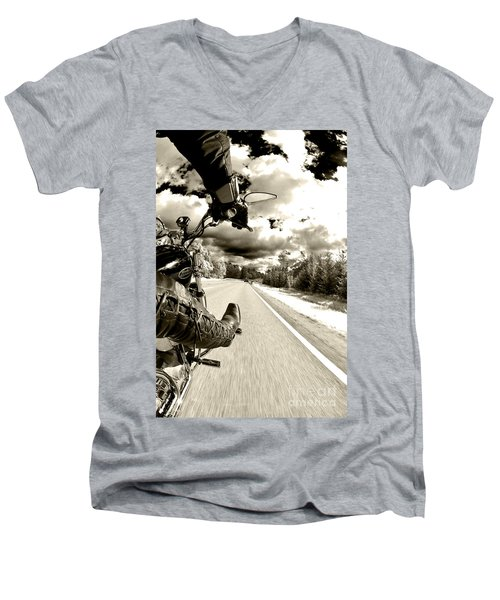 Ride To Live Men's V-Neck T-Shirt by Micah May