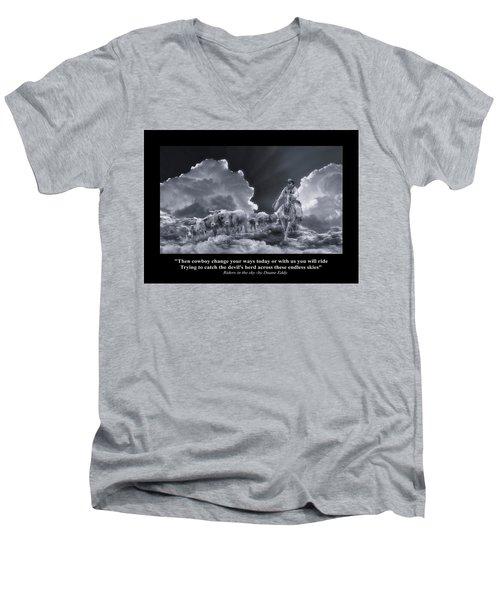 Riders In The Sky Bw Men's V-Neck T-Shirt