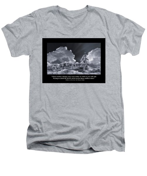 Riders In The Sky Bw Men's V-Neck T-Shirt
