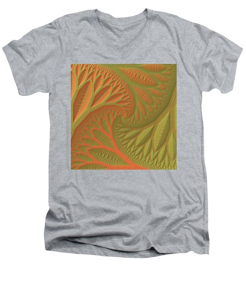 Men's V-Neck T-Shirt featuring the digital art Ridges And Valleys by Lyle Hatch