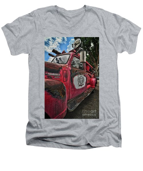 Ridgway Fire Truck Men's V-Neck T-Shirt