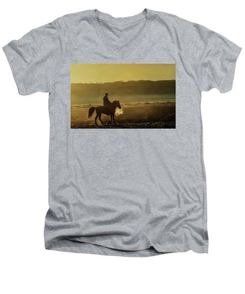 Riding His Horse Men's V-Neck T-Shirt