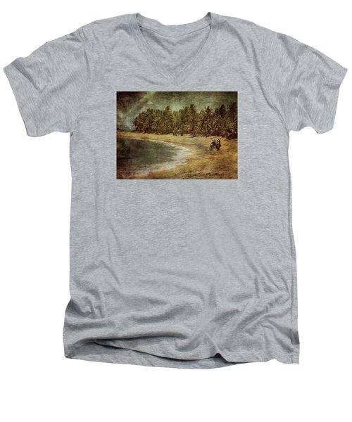 Riding On The Beach Men's V-Neck T-Shirt by Vittorio Chiampan