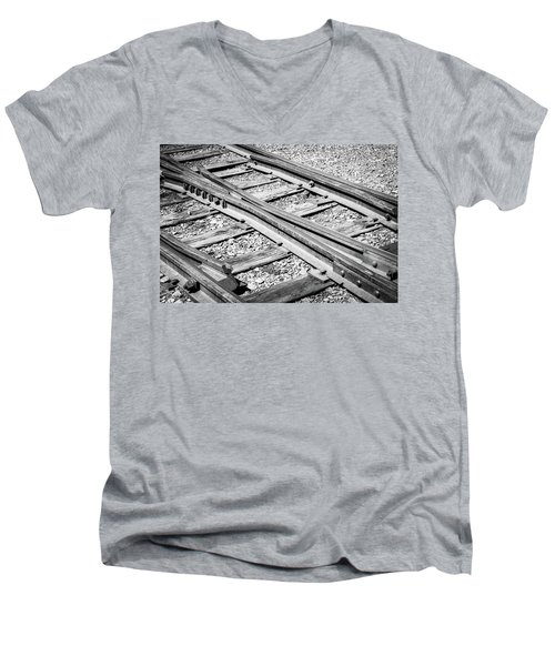 Men's V-Neck T-Shirt featuring the photograph Riding The Rail by Colleen Coccia