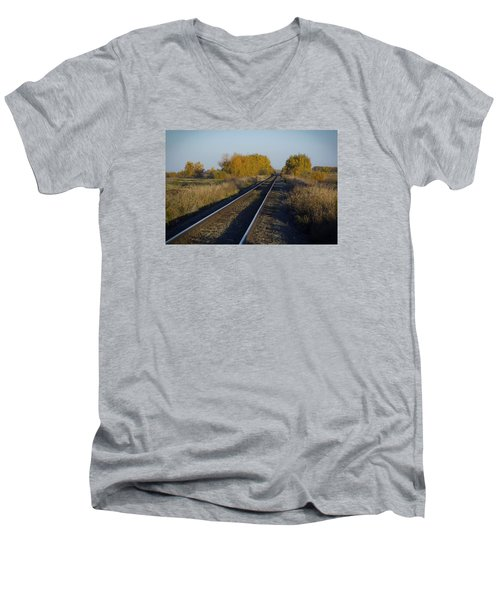 Riding The Rails Men's V-Neck T-Shirt by Ellery Russell