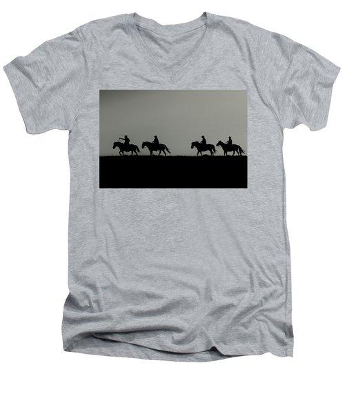 Riding The Range At Sunrise Men's V-Neck T-Shirt