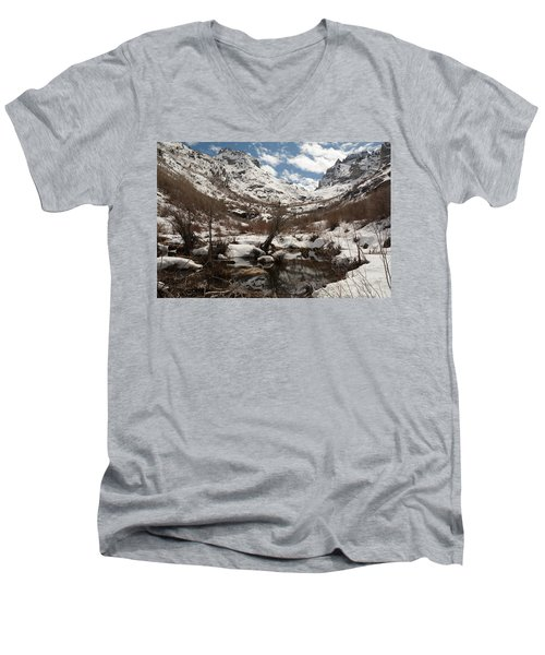 Men's V-Neck T-Shirt featuring the photograph Right Fork Canyon by Jenessa Rahn