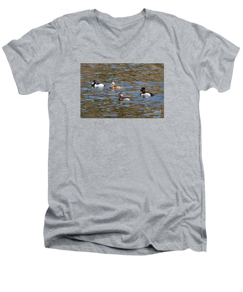 Men's V-Neck T-Shirt featuring the photograph Ring Neck Ducks 20120314_d by Tina Hopkins