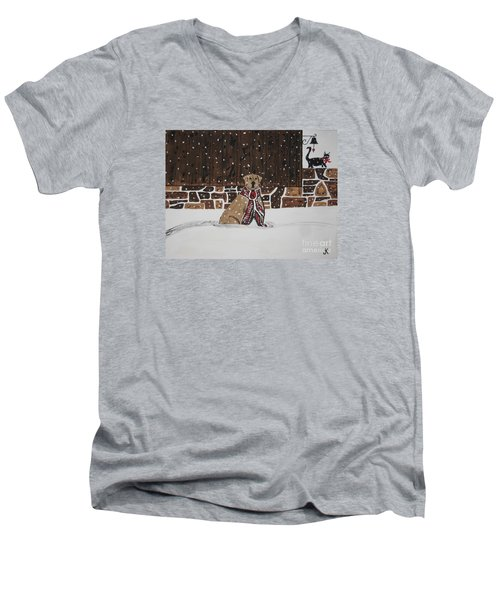 Men's V-Neck T-Shirt featuring the painting Ring The Dinner Bell by Jeffrey Koss