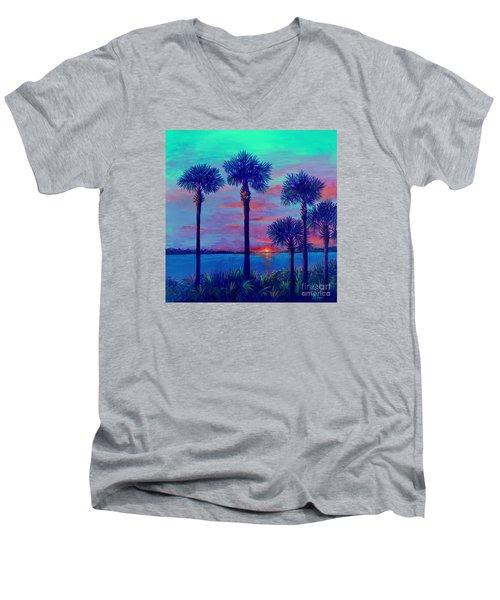 Ringling Bridge Sunset Men's V-Neck T-Shirt by Lou Ann Bagnall