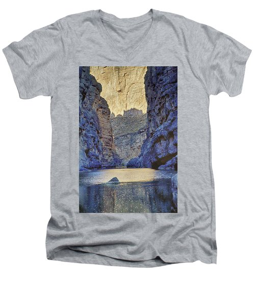 Men's V-Neck T-Shirt featuring the tapestry - textile Rio Grand, Santa Elena Canyon Texas 2 by Kathy Adams Clark