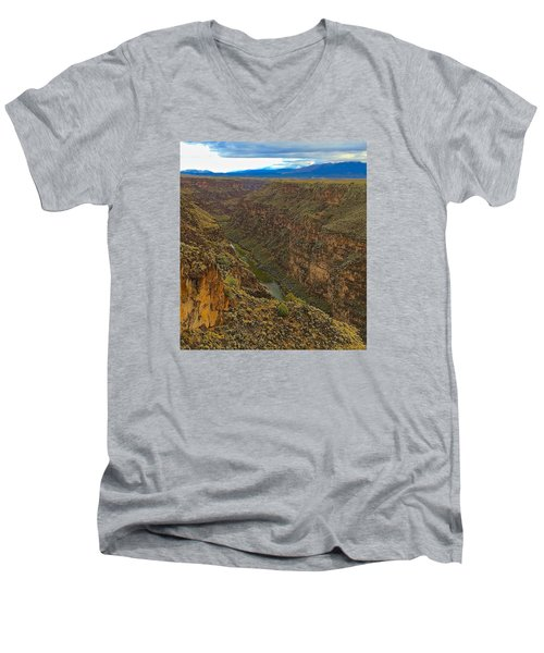 Men's V-Neck T-Shirt featuring the photograph Rio Grande Gorge Just After Dawn by Brenda Pressnall