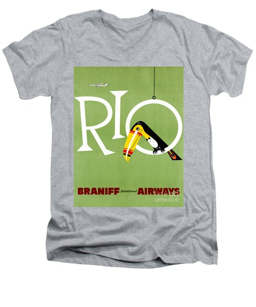 Rio Vintage Travel Poster Restored Men's V-Neck T-Shirt