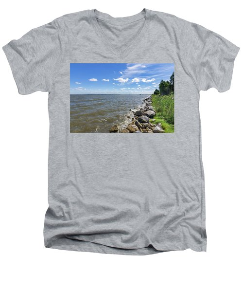 Men's V-Neck T-Shirt featuring the photograph Rip-rap On The Chester River by Charles Kraus
