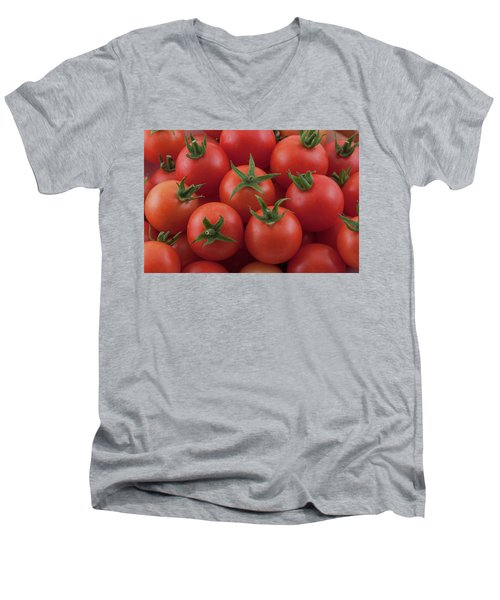 Men's V-Neck T-Shirt featuring the photograph Ripe Garden Cherry Tomatoes by James BO Insogna