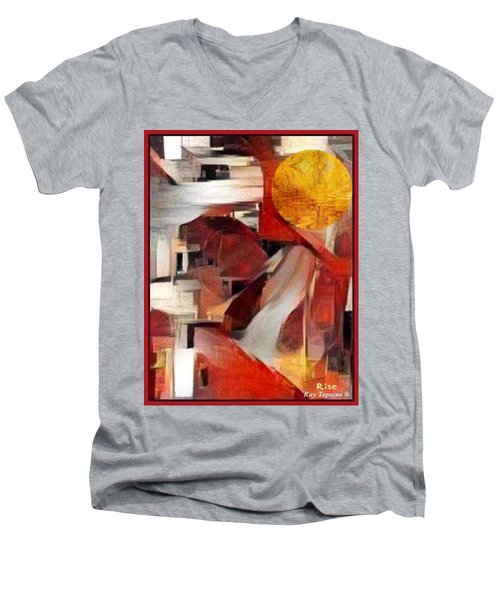Men's V-Neck T-Shirt featuring the mixed media Rise by Ray Tapajna