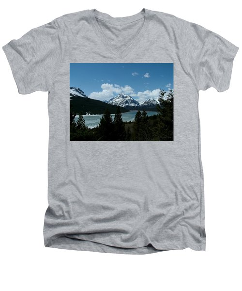 Rising Wolf And Two Medicine Lake Men's V-Neck T-Shirt