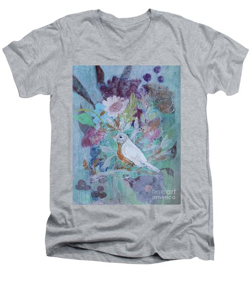 Men's V-Neck T-Shirt featuring the painting Risky Robin by Robin Maria Pedrero