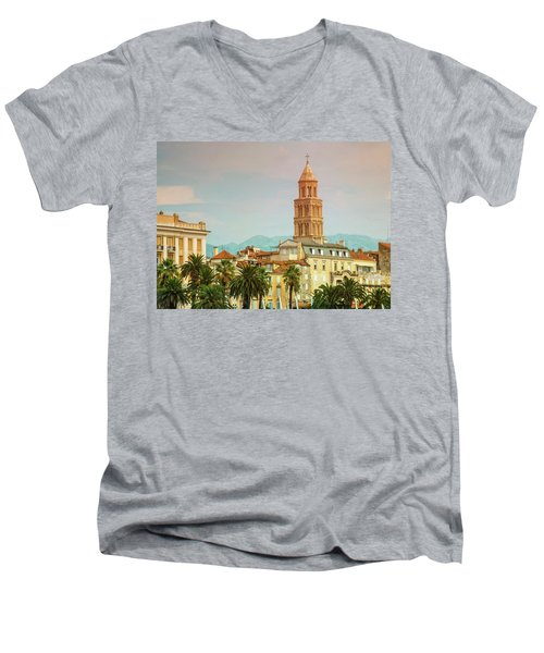 Riva Waterfront, Houses And Cathedral Of Saint Domnius, Dujam, D Men's V-Neck T-Shirt by Elenarts - Elena Duvernay photo
