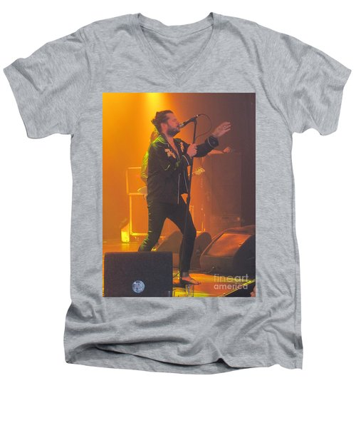 Men's V-Neck T-Shirt featuring the photograph Rival Sons Jay Buchanan by Jeepee Aero