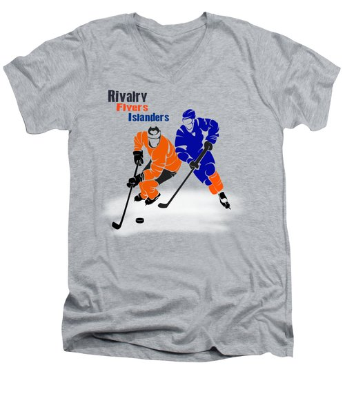 Men's V-Neck T-Shirt featuring the photograph Rivalry Flyers Islanders Shirt by Joe Hamilton