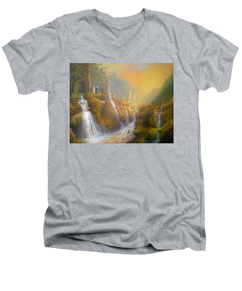 Rivendell Wisdom Of The Elves. Men's V-Neck T-Shirt by Joe  Gilronan