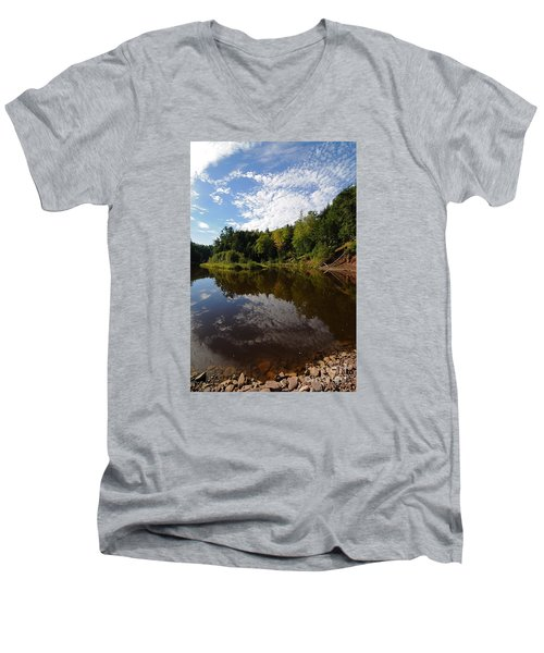 Men's V-Neck T-Shirt featuring the photograph River Beauty by Sandra Updyke