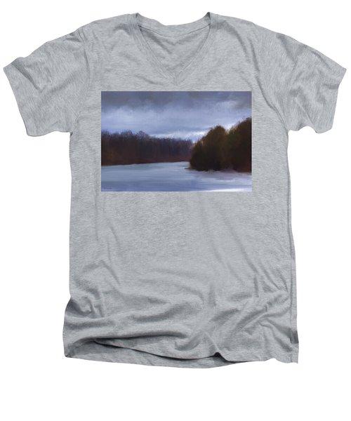 River Bend In Winter Men's V-Neck T-Shirt