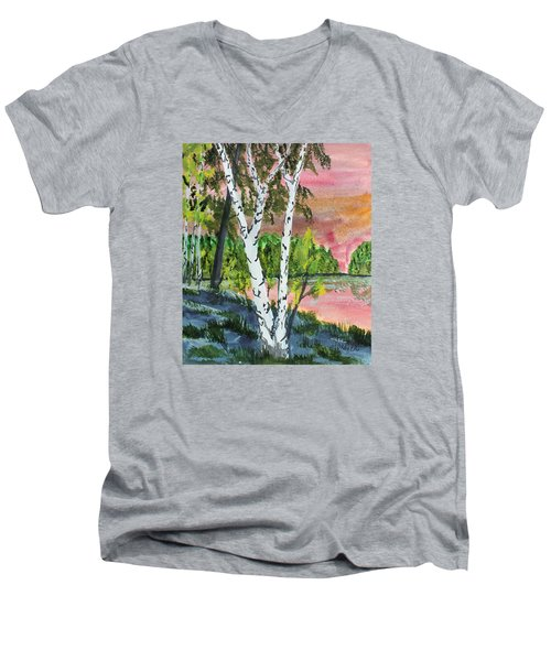Men's V-Neck T-Shirt featuring the painting River Birch by Jack G  Brauer
