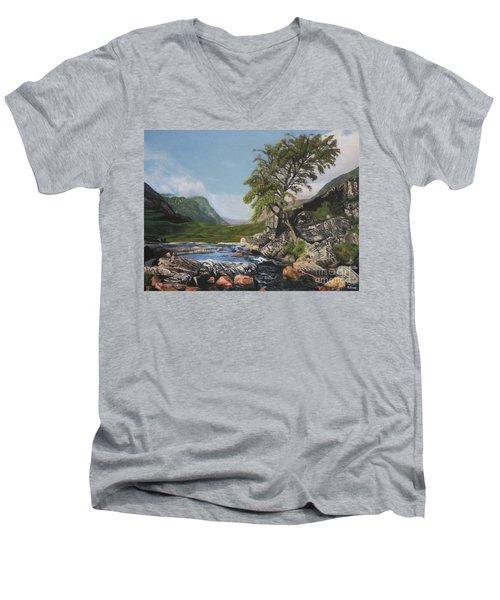 River Coe Scotland Oil On Canvas Men's V-Neck T-Shirt