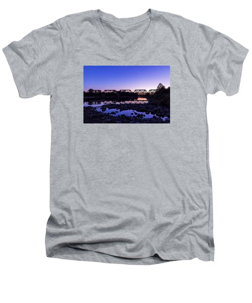 Men's V-Neck T-Shirt featuring the photograph River Crossing by Alan Raasch