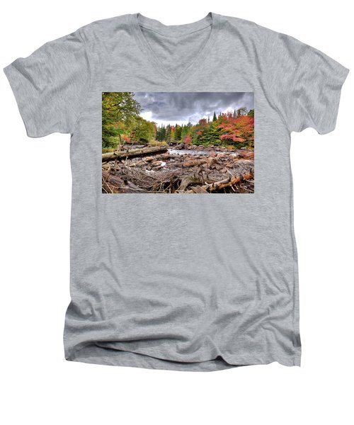 Men's V-Neck T-Shirt featuring the photograph River Debris At Indian Rapids by David Patterson