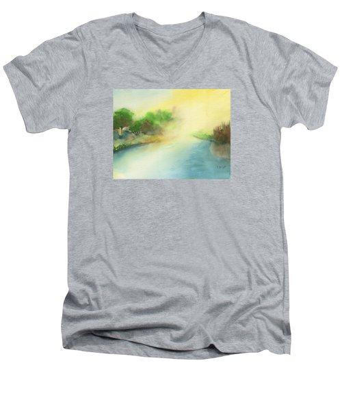 River Morning Men's V-Neck T-Shirt by Frank Bright
