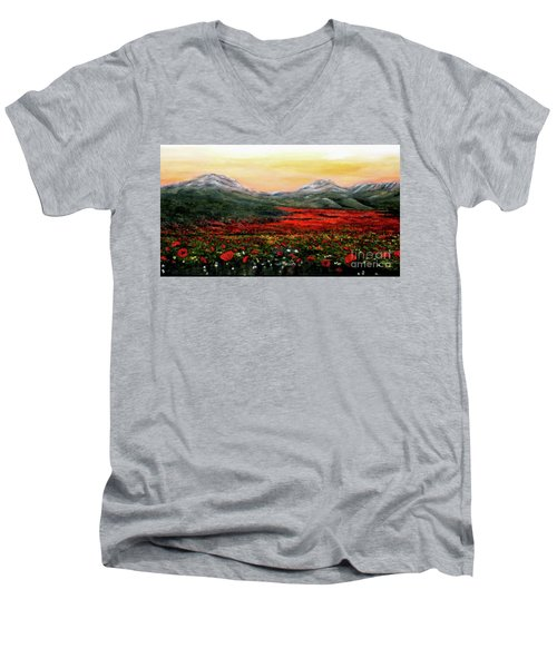 Men's V-Neck T-Shirt featuring the painting River Of Poppies by Judy Kirouac