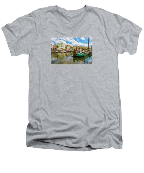 River Scene In Rotterdam Men's V-Neck T-Shirt