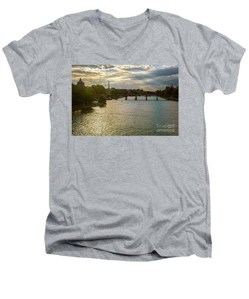 River Seine At Dusk Men's V-Neck T-Shirt
