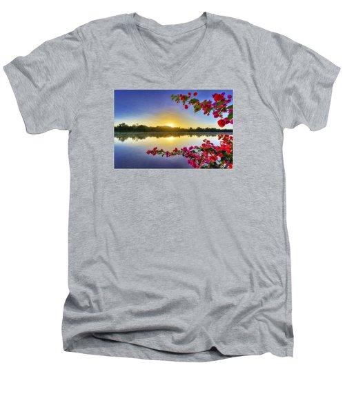 River Sunrise Men's V-Neck T-Shirt by Nadia Sanowar