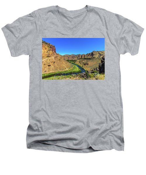 Men's V-Neck T-Shirt featuring the photograph River Through Mountains by Jonny D