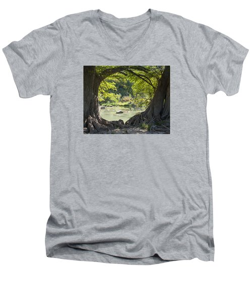 River Through Trees Men's V-Neck T-Shirt