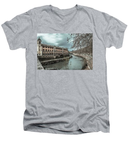 Men's V-Neck T-Shirt featuring the photograph River Tiber by Sergey Simanovsky