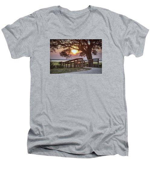 Men's V-Neck T-Shirt featuring the digital art River Walk by Phil Mancuso