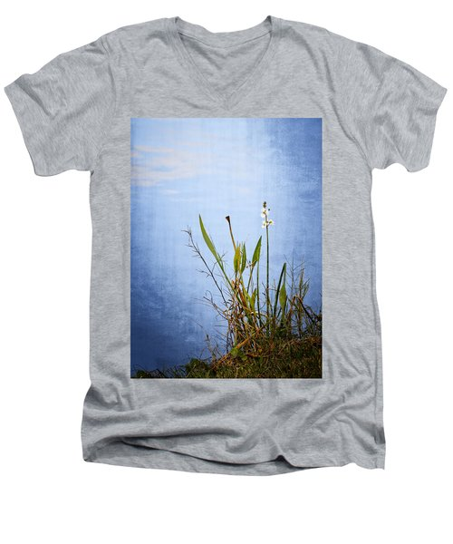 Men's V-Neck T-Shirt featuring the photograph Riverbank Beauty by Carolyn Marshall