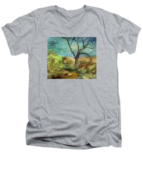 Men's V-Neck T-Shirt featuring the painting Riverbed  by Annette Berglund