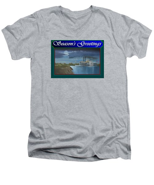 Men's V-Neck T-Shirt featuring the painting Riverboat Season's Greetings by Stuart Swartz