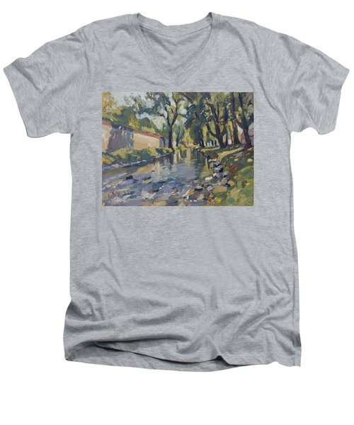 Riverjeker In The Maastricht City Park Men's V-Neck T-Shirt by Nop Briex