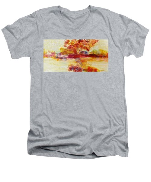 Riverscape In Red Men's V-Neck T-Shirt