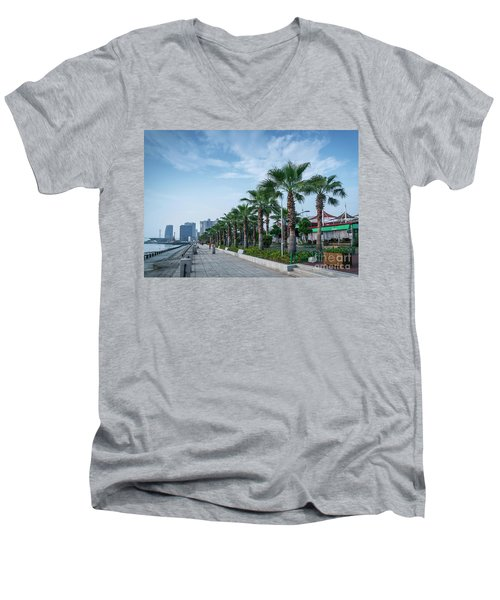 Riverside Promenade Park And Skyscrapers In Downtown Xiamen City Men's V-Neck T-Shirt