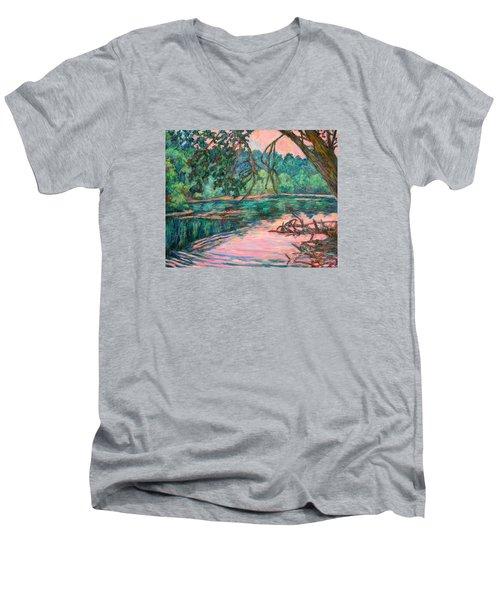 Riverview At Dusk Men's V-Neck T-Shirt